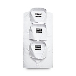 The Collection - Big and tall pack of three white slim fit long sleeve shirts