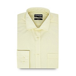 The Collection - Big and tall light yellow slim fit long sleeve formal shirt