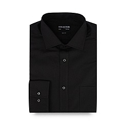 The Collection - Big and tall black slim fit long sleeve formal shirt