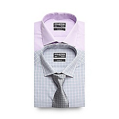 The Collection - Big and tall pack of two grey grid checked formal shirts with tie