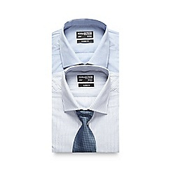 The Collection - Big and tall pack of two blue shirts with a tie