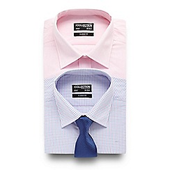 The Collection - Set of two pink and purple patterned tailored fit shirts with a dark blue tie