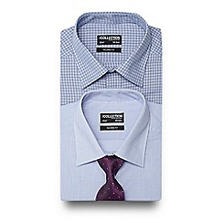 The Collection - Set of two blue grindle checked tailored fit shirts with a purple tie