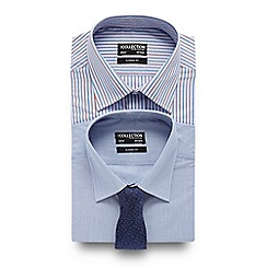 The Collection - Big and tall set of two blue striped regular fit shirts with a navy tie
