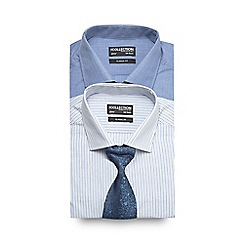 The Collection - Pack of two blue striped formal shirts with tie