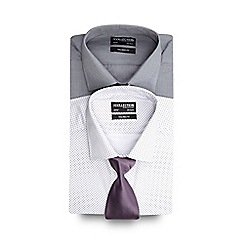 The Collection - Set of two lilac and grey spotted tailored fit shirts with a tie
