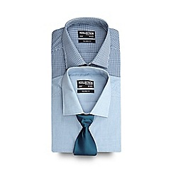 The Collection - Set of two blue checked tailored fit shirts with a blue tie