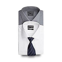 The Collection - Set of two white and grey regular fit shirts with a blue tie