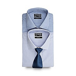 The Collection - Set of two blue patterned regular fit shirts with a blue tie