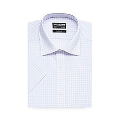 The Collection - Big and tall lilac checked short sleeve shirt