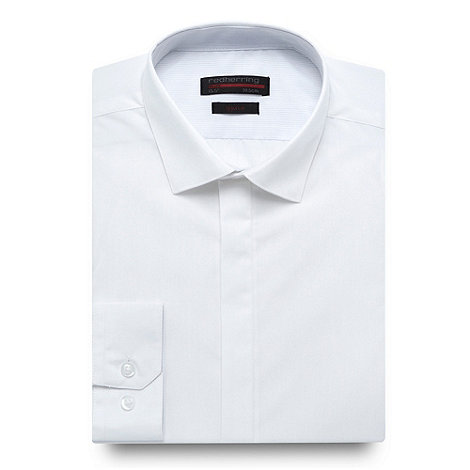 Red Herring Red Line - White semi plain long sleeved Slim fit shirt