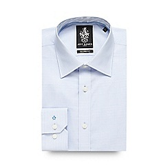 Jeff Banks - Blue horizontal broken striped formal shirt