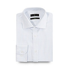 J by Jasper Conran - Big and tall white grid checked slim fit shirt