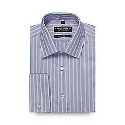 Hammond & Co. by Patrick Grant - Big and tall blue textured stripe tailored fit shirt