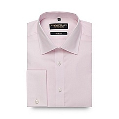 Hammond & Co. by Patrick Grant - Big and tall pink mini grid textured slim fit shirt