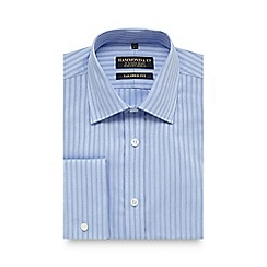 Hammond & Co. by Patrick Grant - Blue textured stripe print tailored fit shirt