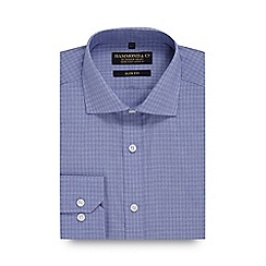 Hammond & Co. by Patrick Grant - Blue square print slim fit shirt