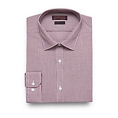 Red Herring - Big and tall maroon mini gingham checked slim fit shirt