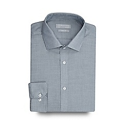 Red Herring - Big and tall blue textured slim fit shirt