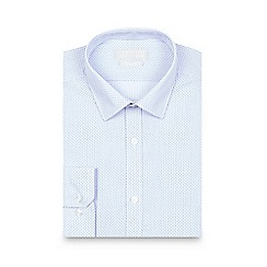 Red Herring - Big and tall blue spotted striped print slim fit shirt