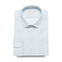 Red Herring - White and turquoise mini square slim fit shirt