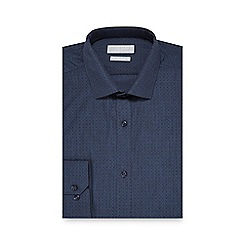 Red Herring - Big and tall blue diamond print slim fit shirt