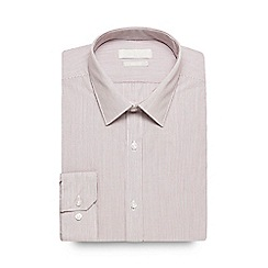 Red Herring - Big and tall maroon slim fit striped formal shirt