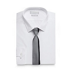 Red Herring - Big and tall white slim fit shirt and striped tie set