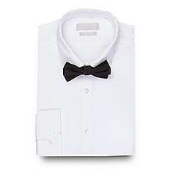 Red Herring - Big and tall white slim fit shirt and black bow tie set
