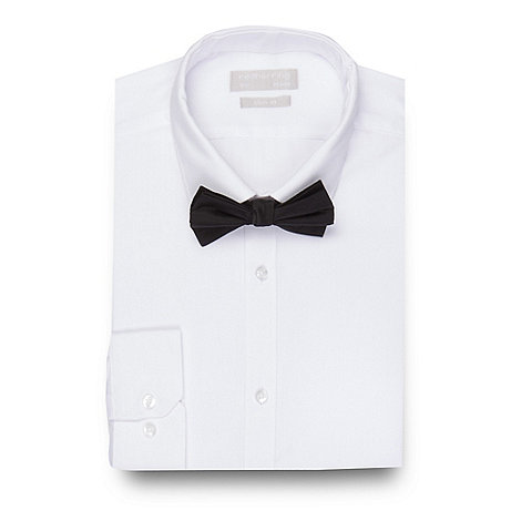 Red Herring White Slim Fit Shirt And Black Bow Tie Set