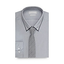 Red Herring - Big and tall light grey striped textured slim fit shirt with a tie