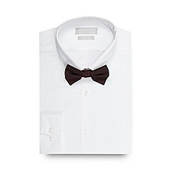Red Herring - Big and tall white slim fit shirt and dark red bow tie set