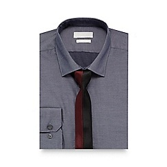 Red Herring - Big and tall grey slim fit shirt with tie