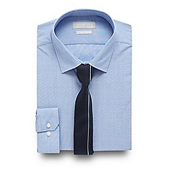 Red Herring - Big and tall light blue slim fit shirt and navy tie set