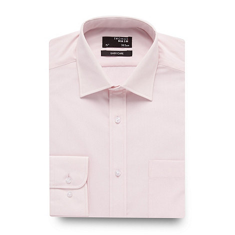 Thomas Nash - Big and tall pink easy care long sleeved shirt