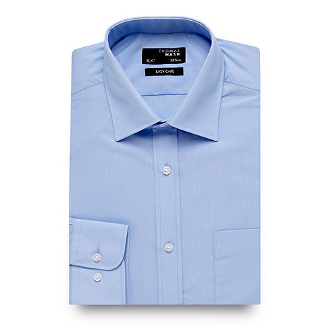 Thomas Nash - Big and tall blue plain formal shirt