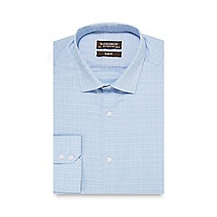 St George by Duffer - Blue textured slim fit shirt