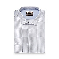 St George by Duffer - Big and tall white checked print slim fit shirt