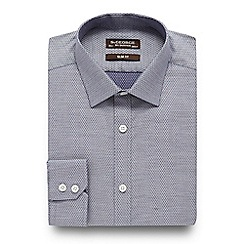 St George by Duffer - Blue chambray print slim fit shirt