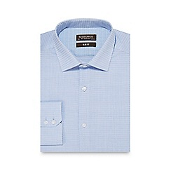 St George by Duffer - Light blue square print slim fit shirt