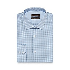 St George by Duffer - Light turquoise gingham print slim fit shirt