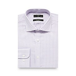 J by Jasper Conran - Big and tall lilac grid checked tailored fit shirt