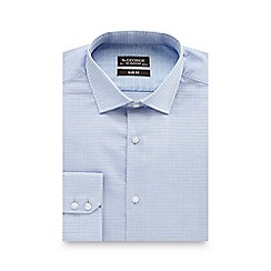 St George by Duffer - Light blue textured slim fit shirt