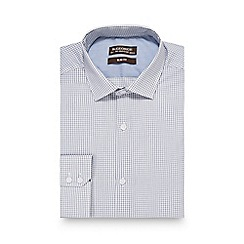 St George by Duffer - White checked print slim fit shirt with extra-long sleeves and body