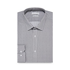 Red Herring - Big and tall grey pattern striped slim fit shirt