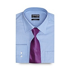 The Collection - Blue textured tailored fit Oxford shirt with a dogtooth tie