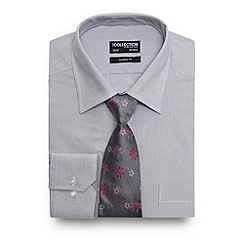 The Collection - Grey striped print shirt with a floral tie