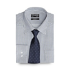The Collection - Big and tall navy checked print tailored fit shirt with a tie