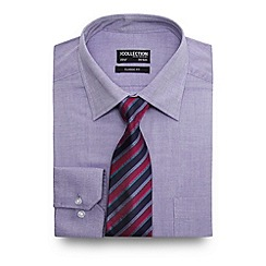 The Collection - Big and tall blue textured oxford shirt with a striped tie