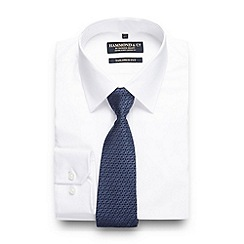 Hammond & Co. by Patrick Grant - Big and tall luxury white shirt with a blue geometric tie